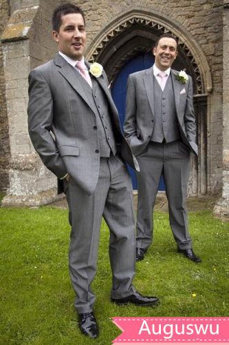 Groom Tuxedos Notch Lapel Best Man Suit Grey Groomsman Men's Wedding Prom Suits