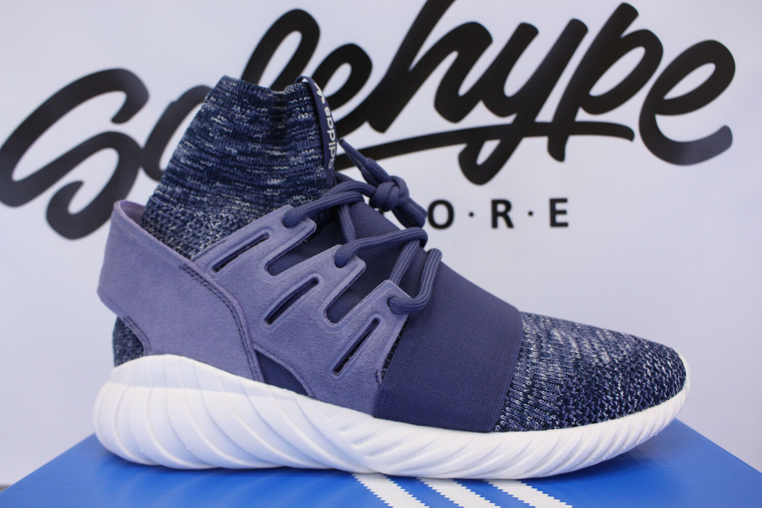 ADIDAS TUBULAR DOOM PK SUPER PURPLE NAVY VINTAGE WHITE PRIMEKNIT BB2393 Price reduction