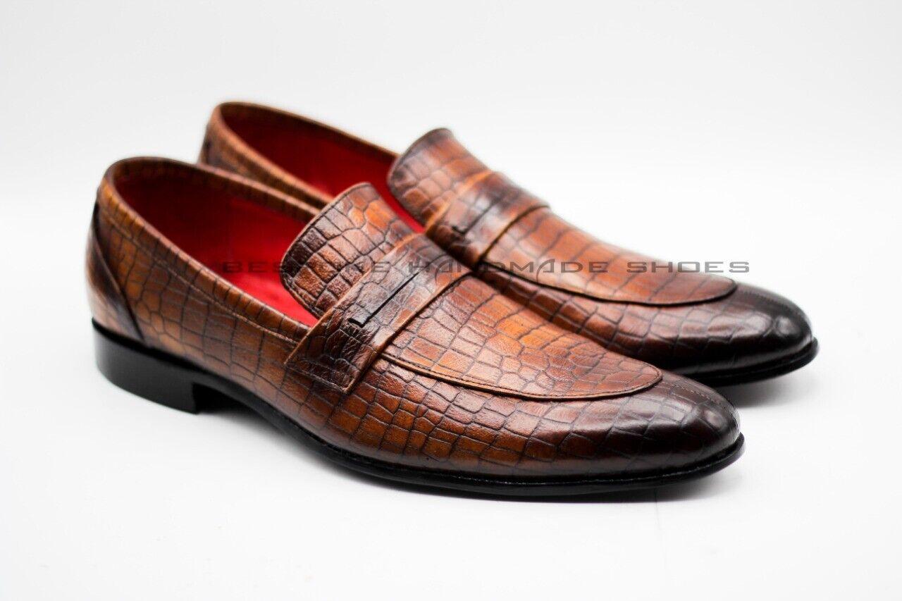 Herren Hand genäht braun Krokodil Leder Slip On formale Schuhe
