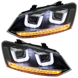 Scheinwerfer-U-Tube-VW-Polo-6R-6C-2009-Schwarz-Tagfahrlicht-Optik-LED-Blinker