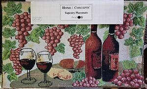 GRAPE-WINE-Tapestry-placemat-Home-Concepts-13-034-x19-034-table-protector-set-of-6