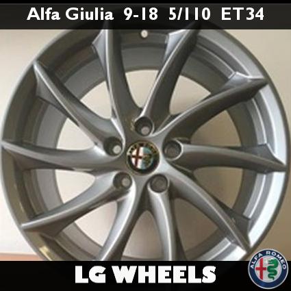 Cerchio Lega Nuovo e Originale Alfa Romeo Giulia → 9x18 ET34 5x110, Antracite