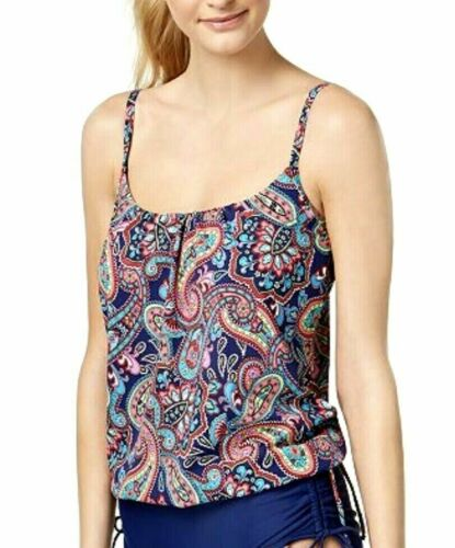 24th /& Ocean Women/'s Paisley High Neck Tankini Top Swimsuit NWT Size L $55 A1