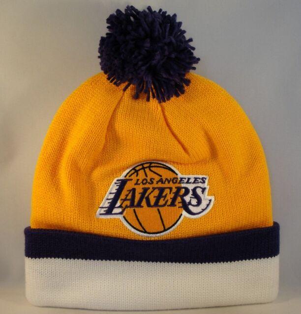 5e7c1f9cd9c1f Los Angeles Lakers Mitchell   Ness NBA Sport Knit Pom Beanie Cap Hat ...