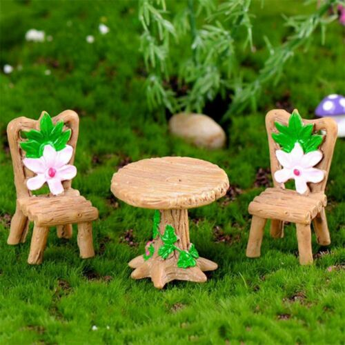 Cute Table Chair Set Resin Craft Micro Landscape Ornament Fairy Garden Miniature