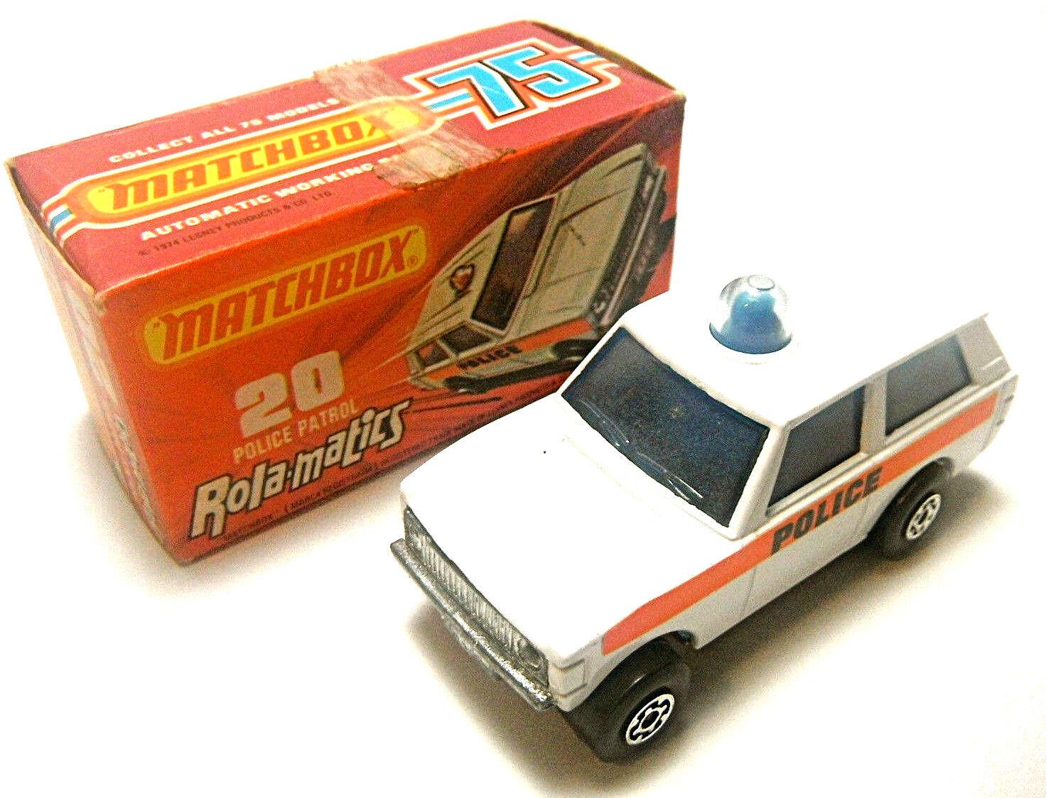1975 Matchbox Lesney Rola-matics Police Patrol  MPN 20 Solid bluee Spinner NIB