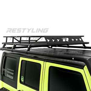 Top-Luggage-Cargo-Roof-Rack-System-Basket-Only-for-07-18-Jeep-Wrangler-JK-4-Door