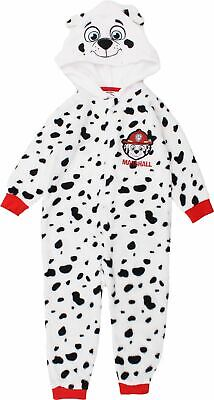 Paw Patrol Boys Marshall Chase Costume Paw Prints Coral Fleece All in One Pyjamas