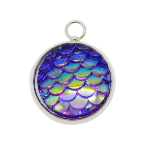 12 Colors Resin Mermaid Scale Cameo Settings Pendants for Jewelry Making 12mm