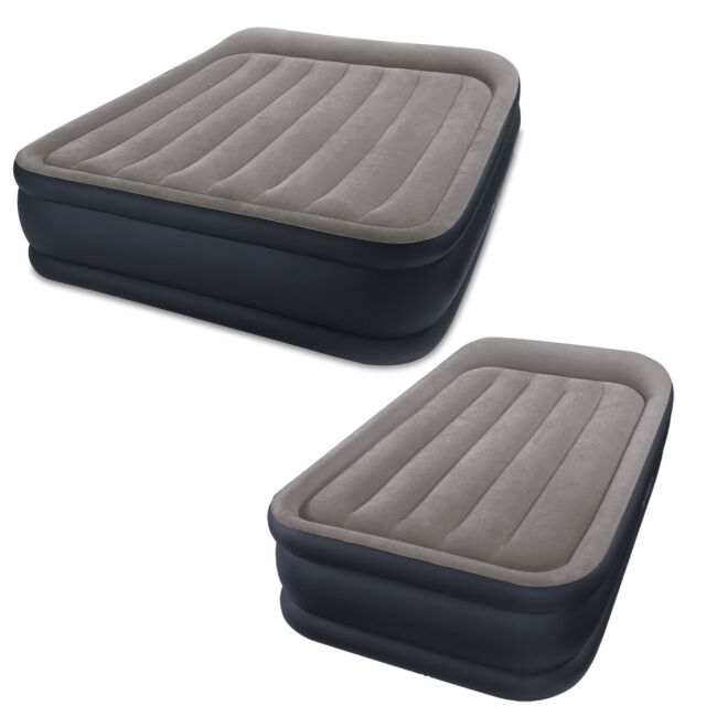 Twin Intex Deluxe Raised Pillow Rest Air Mattress Bed with Built-In Air Pump