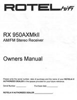 Rotel Rx-950axmk2 Receiver Owners Manual