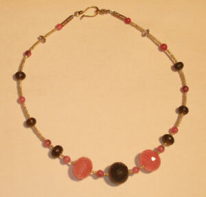 Gorgeous-Golden-Cherry-Quartz-and-Smoky-Quartz-Necklace