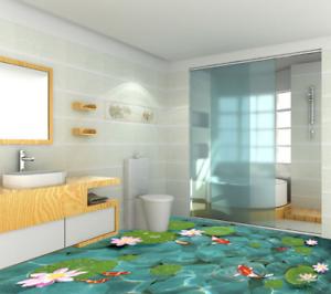 3D Lotus fishs lago Piso impresión de parojo de papel pintado mural 4 5D AJ Wallpaper Reino Unido Limón