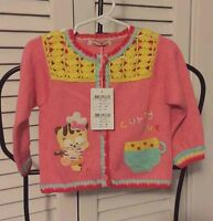 Curly Sue Baby Sweater Pink Cat Applique Button Front Cardigan Top 18-24m