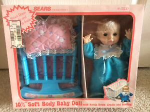 "Vintage Sears 10.5"" Soft Body Baby Girl Doll Blue Cradle w ..."
