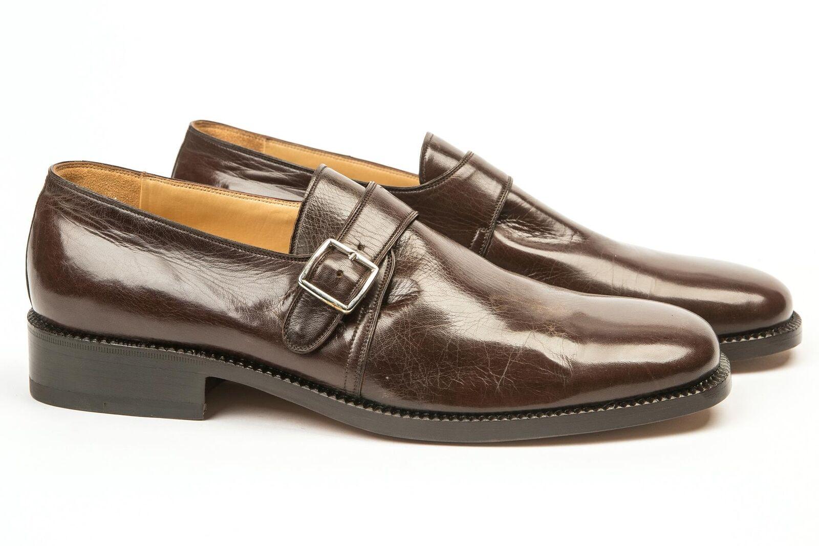 Silvano Lattanzi NIB Brown Plain Toe Single Monk Strap Dress shoes 9.5 US 9 IT