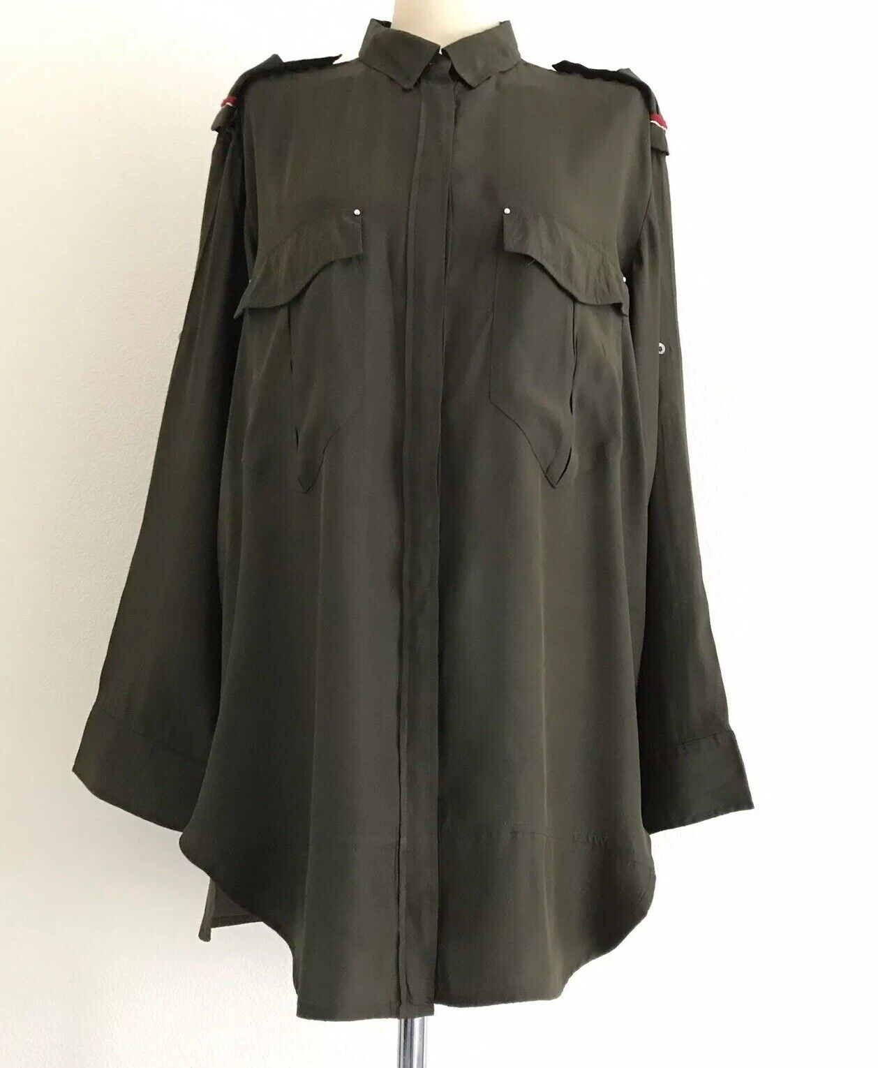 IRO Nastia Khaki Grün Military Silk Blouse Shirt Dress - Medium - Large Größe