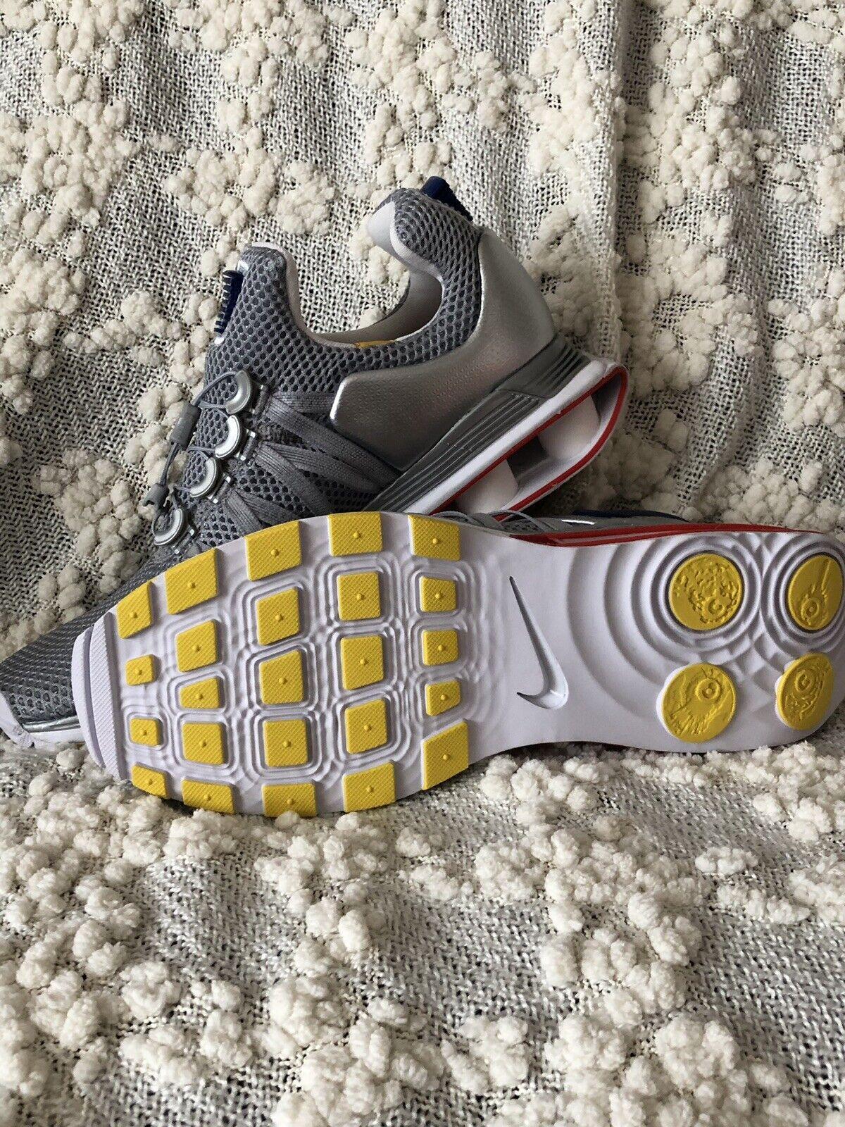 New Mens Nike Shox Gravity Metallic Silver Gym bluee White Running shoes Size 9