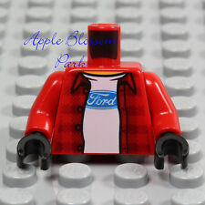 NEW Lego Ford Truck MINIFIG TORSO Male Boy Red Plaid Shirt Jacket White T-Shirt