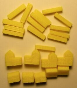 Yellow settlements /& cities roads Wooden Pieces for Settlers of Catan