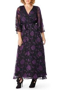 a4af84db0df Mynt 1792 Floral Burnout Faux Wrap Gown (Plus Size) (size 2X)