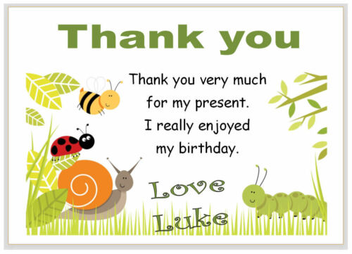 boys birthday party BUGS green i310 10 Personalised THANK YOU CARDS thanks