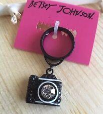 NWT RARE Betsey Johnson Black Clear Pave Rhinestones Camera Charm Ring Size 7.5