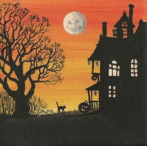 2x2 DOLLHOUSE MINIATURE PRINT OF PAINTING RYTA 1:12 SCALE HALLOWEEN LANDSCAPE