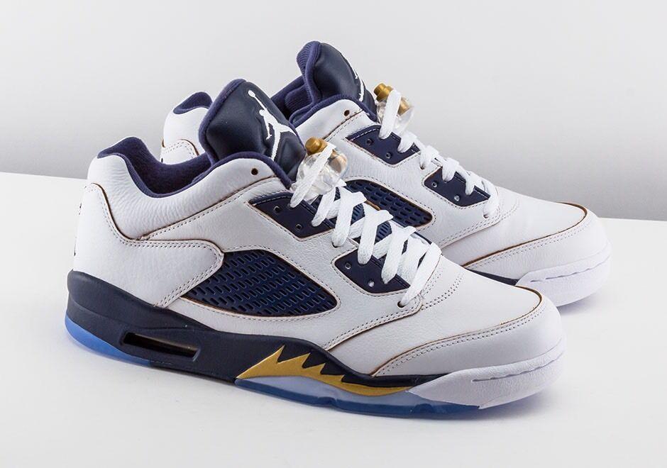 JORDAN RETRO 5 bajo DUNK desde arriba Zapatos para hombre blancoo Azul oro 819171 135
