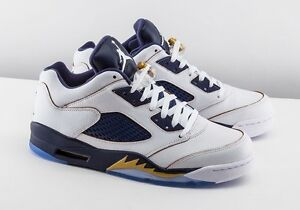 pretty nice f2617 e7fb9 Details about JORDAN RETRO 5 LOW DUNK FROM ABOVE MENS SHOES SIZE 10  WHITE/BLUE/GOLD 819171 135