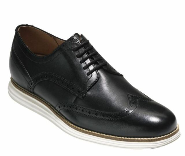 New COLE HAAN Mens Original Grand Black Leather Wingtip Oxford Shoes C26469