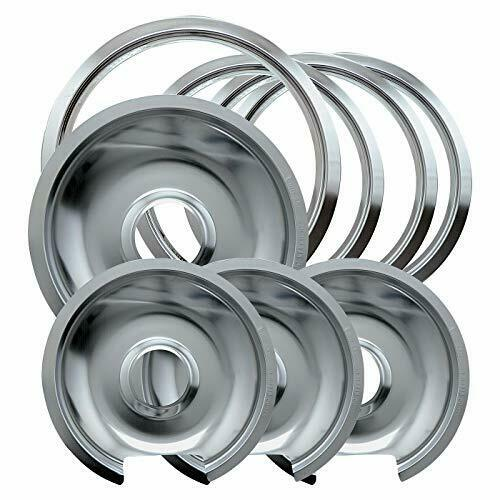 Heavy Duty Chrome Drip Pans & Trim Rings Set for Electric Stoves - 1056RGE8