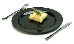 Image is loading 10-Heavy-Duty-PLASTIC-PLATES-Black-stylish-dinner-  sc 1 st  eBay & 10 Heavy Duty PLASTIC PLATES..... Black stylish dinner party ware ...