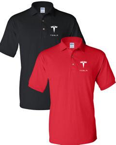 9699db2b TESLA Men's T-Shirt TESLA MEN'S White LOGO POLO T-Shirt