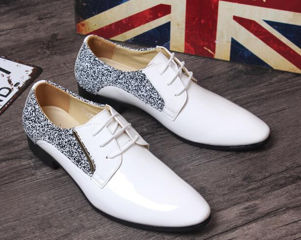 Fashion Formal Rhinestone Mens Pointed Toe Lace Up Portable Formal Wedding shoes