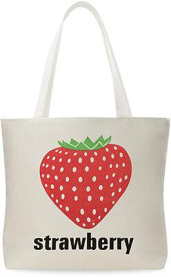 Damentasche Baumwolltasche Leinen - Beutel Shopper Bag Einkaufstasche Erdbeere