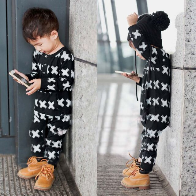 Kids Baby Boy Newborn Infant Long Sleeve Romper Jumpsuit Bodysuit Clothes Outfit