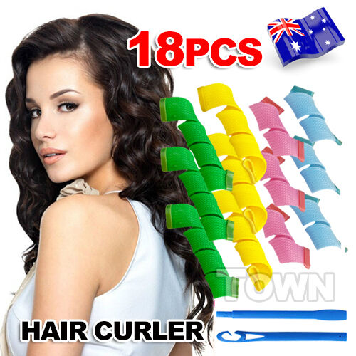 1 of 1 - 18PCS DIY Magic Hair Curler Leverag Curlers Formers Spiral Styling Rollers