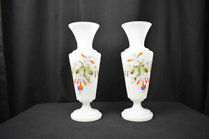 Antique-Pair-of-Large-Hand-Painted-Bristol-Glass-Vases