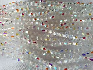 Joblot-10-strings-1200-beads-4mm-White-Clear-full-AB-Bicone-Crystal-beads-new