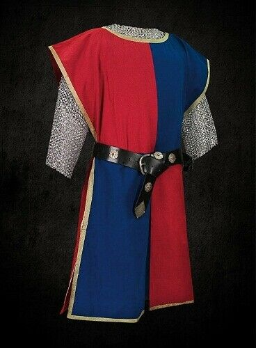 Clothes Medieval Red & Blue Knight Tunic Surcoat Sleeveless Renaissance LARP