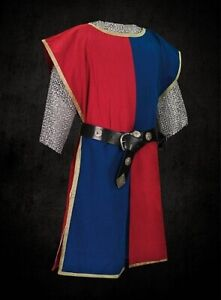 MEDIEVAL-Red-amp-Blue-Knight-Tunic-Surcoat-Crusader-Sleeveless-Renaissance-LARP