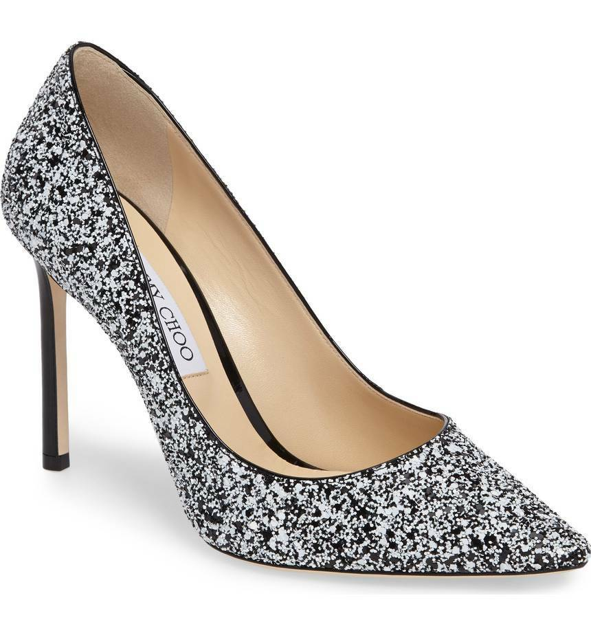 vendita economica NIB Jimmy Choo ROMY 100 Pointy Toe Pump Heel Heel Heel scarpe nero bianca Glitter 36.5 - 6  vendita online