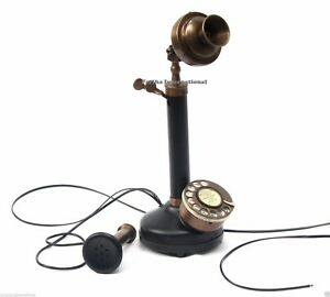 Vintage-Handmade-Candlestick-Telephone-Rotary-Dial-decor-Functional-Phone