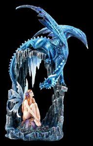 Große, nackte Elfen Fantasy-Figur mit Drache   Fee Engel Skulptur Statue H 53 cm