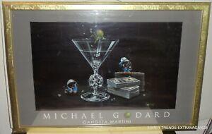 "-RARE- Michael Godard ""Gangsta Martini"" Vintage Poster Print In Gold Frame"