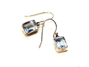 Bijou-boucles-d-039-oreilles-argent-925-topaze-bleue-fermoir-crochet-earrings