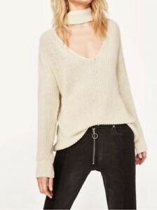 Medium Jumper Choker Cream Zara Knitted Bnwt Size nwfWxaq