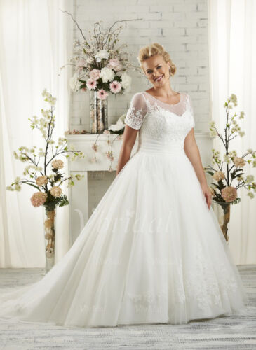 2018 Plus Size WhiteIvory Bridal Gown Lace Wedding Dress Stock Size1426