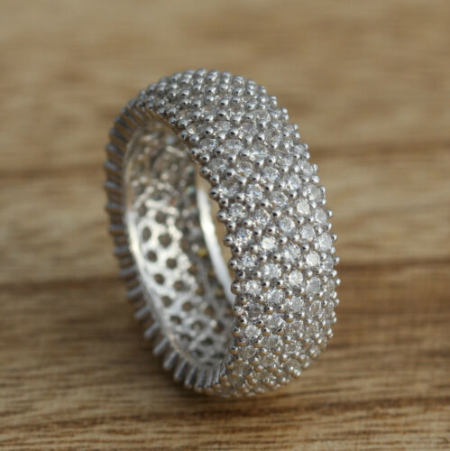 8mm Solid 925 Sterling Silver 5 Row CZ  Band Ring Jewellery Various Sizes